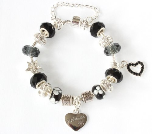 The Charm Cabin Gift Boxed Bridesmaid Charm Bracelet - Black And Cool Grey - Silver - Size 19Cm