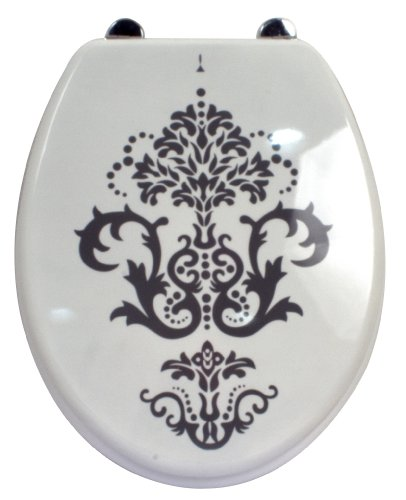 Carpemodo WC Sitz WC Deckel Klodeckel MDF robustem Holzkern Antibakteriell Scharniere aus Metal Größe 43x36 cm Farbe Weiß Design Barock 190119