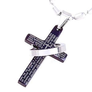 Halskette mit schwarzem Kreuz und Edelstahlring Anhänger in einem schwarzen Samtbeutel