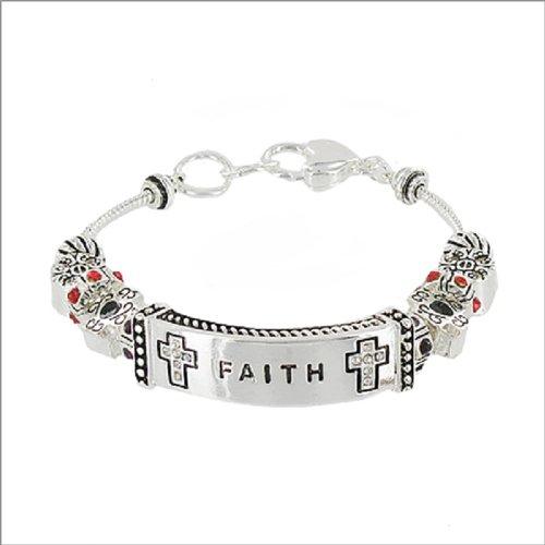 Faith Sign W Multi Bead Bracelet #039212