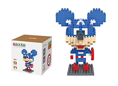 LOZ Diamond Blocks Nanoblock Mickey Mouse Featuring Captain America Educational Toy 240PCS