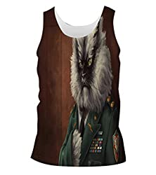 Snoogg Colonel Meow Mens Casual Beach Fitness Vests Tank Tops Sleeveless T shirts