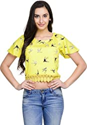 Addyvero Women's Gold Yellow Crop top