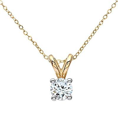Ariel 9ct White Gold Ladies 0.33ct Single Stone Diamond Pendant + 46cm White Gold Trace Chain