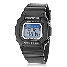 buy Running Watch Men'S Spectrum Lcd Digital Square Dial Silicone Band Sporty Wrist Watch (Assorted Colors)
