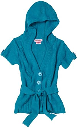 Pink Angel Big Girls' Cable Sweater, Rich Turquoise, Small