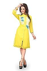 7 Colors lifestyle Yellow Colored Chiffon Embroidered Kurti 7 Colors lifestyle Black Colored Chiffon Embroidered Kurti(Size: XL)