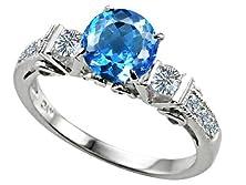 buy Star K Classic 3 Stone Ring Round 7Mm Genuine Blue-Topaz Size 7