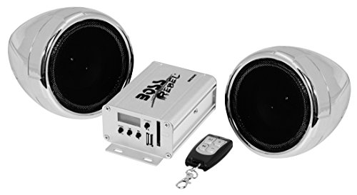 BOSS AUDIO MC500 Chrome 600 watt Motorcycle/ATV Sound System with Built-in FM Tuner with One Pair of 3 Inch Weather Proof Speakers, Aux Input and Volume Control