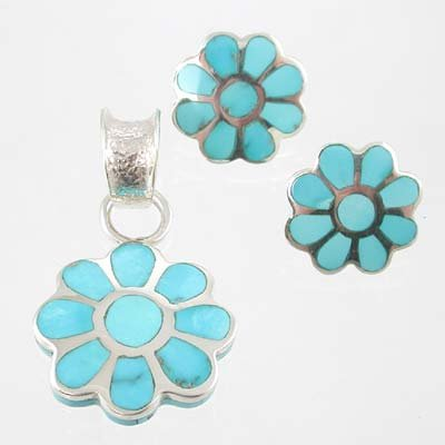 Southwestern Native American Handmade Turquoise Inlaid Flower Pendant and Earring Set by Michael Perry in Sterling Silver, #11564