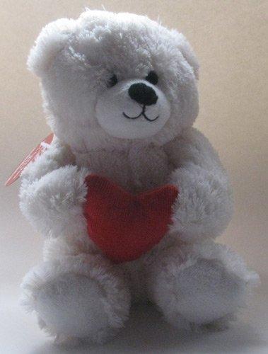 "Hallmark Soft Plush White Bear Holding Heart ""Li'l Love You Bear"""