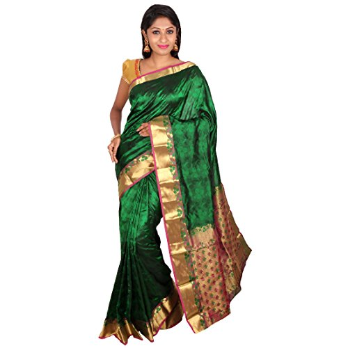 PSSB Kanchipuram silk sarees Emboss design Pure silk Jari Rich Pallu Dark Green