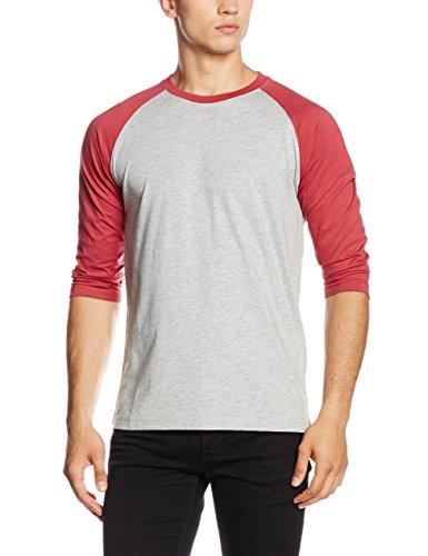 Urban Classics Contrast 3/4 Sleeve Raglan Tee, T-Shirt Uomo, Mehrfarbig (Gry/Ruby 566), L