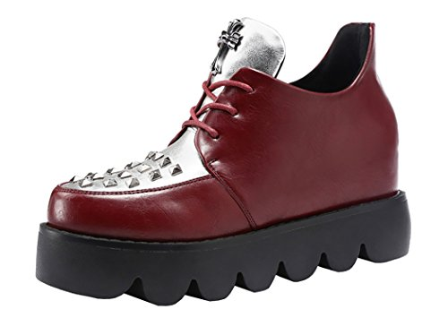 Guciheaven Women New Korea Style Platform Rivet Shoes(7 B(M)Us, Red)