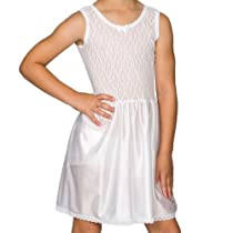 I.C. Collections Girls White Stretch Lace Slip, Size 8