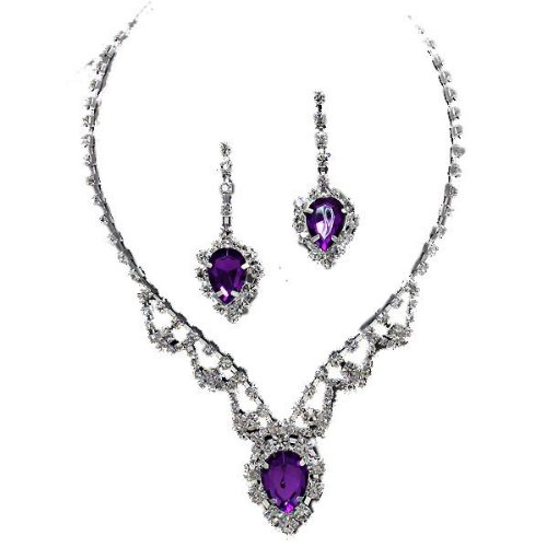 Purple crystal diamante drop necklace set