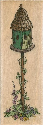 Large Birdhouse Holly Pond Hill Wood Mounted Rubber Stamp (G13059)