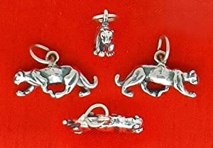Sterling Silver Charm, Panther/Cougar/Lioness, 3/4 inch wide, 2 grams