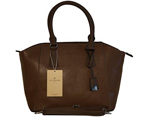 Borsa donna marca David Jones in ecopelle lavorazione saffiano, modello a doppio manico -marrone
