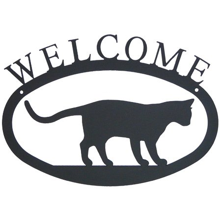 Cat Welcome Sign, Wrought Iron, 11.5