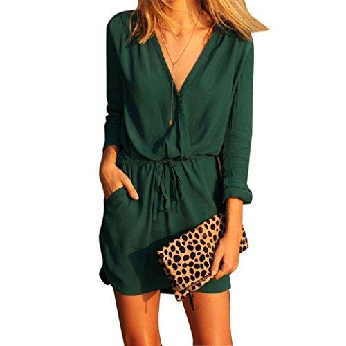 amlaiworld-femmes-v-neck-robe-manches-longues-robe-mini-uniformes-l-vert