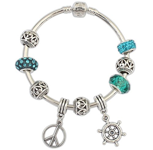 [Winter's Secret Personality Alloy Beads Rudder and Boat Anchor Pendant Charming Bracelet Character] (Arrest Shoes Adult)