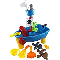Pirate Ship Beach Sand And Water Play Table For Kids With Shovel, Rake, Sand Wheel, Mini Boat, Shape