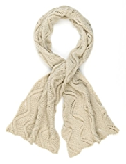 Indigo Collection Cable Knit Pointelle Scarf