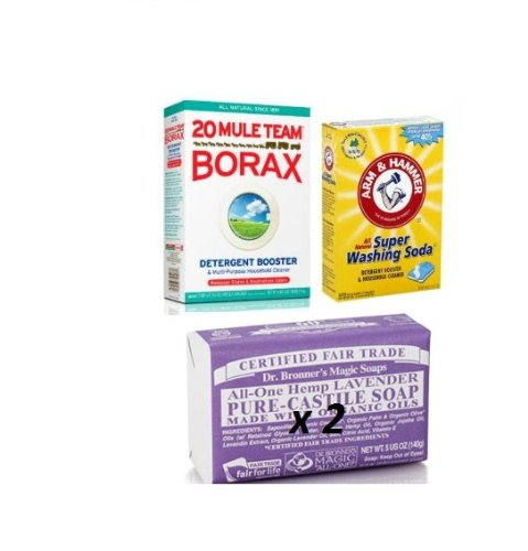 Laundry Soap Kit - Dr Bronner Lavendar, Borax & Washing Soda (Pure Castille Lavender) back-372109