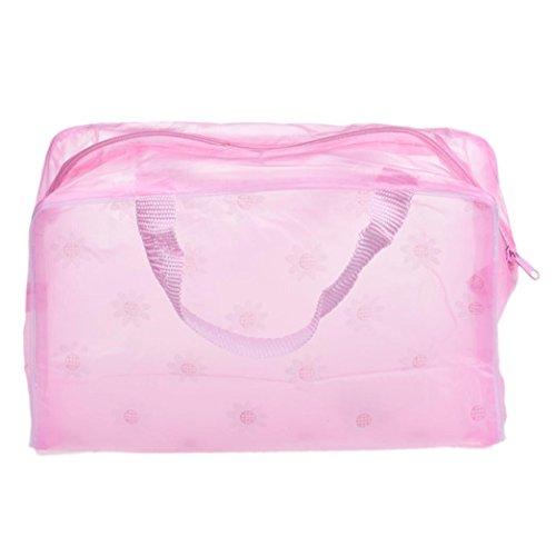 DDLBiz® Transparent Trousse / Sac / Étui à Accessoires de Toilette Beauté & Cosmétiques en PVC - Pink- Imperméable