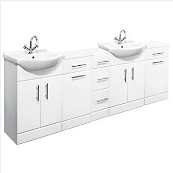 2300mm Double Bathroom Set 650mm Vanity Unit & Storage