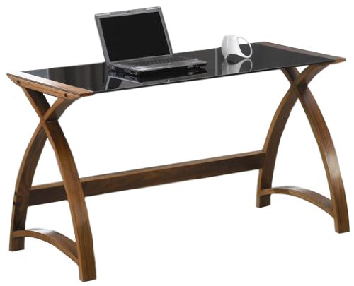 Jual Curve - Curved Walnut and Black Glass Laptop Desk