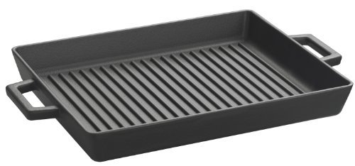 Lava Enameled Cast-Iron 10 X 12 Inch Grill Pan, Slate Black Style: Rectangular Grill Pan Home & Kitchen front-85449