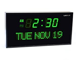 Ivation JID0212GRN Big Oversized Digital Blue LED Calendar Clock with Day and Date (Green)