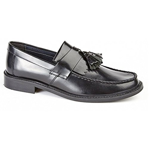 Roamers Da uomo in sella Mocassino nappa in pelle Smart scarpe Casual MOD Black Taglia - UK 7 - EU 41 - US 8