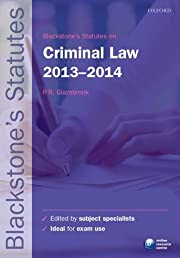 Blackstone's Statutes on Criminal Law 2013-2014 (Blackstone's Statute Series)