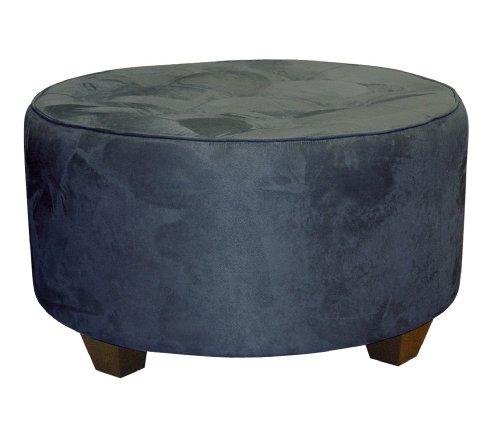 Clybourn Round Tufted Cocktail Ottoman by Skyline Furniture in Lazuli Blue Micro-suede