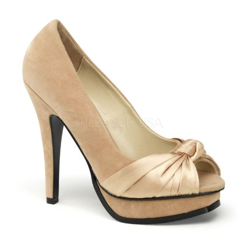 Pin Up Couture PLEASURE-05 Champagne Sueded Pu-Satin Size UK 5 EU 38