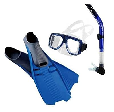 Snorkeling Package with a Universal Navigator Scuba Diving & Snorkeling Mask (Blue), a Tilos Splash Purge Snorkel (Blue) & a pair of Trident Full Foot Fins (Cobalt Blue/Size 4-6/X-Small) - Optional Prescription Lens are Available acquired from Tilos