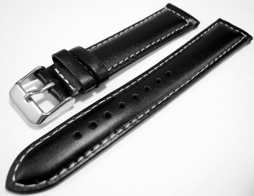Black Genuine Leather Padded Watch Strap Band 18mm