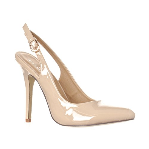 Riverberry Women's Lucy Pointed-Toe Sling Back Pump Stiletto Heels, Nude Patent, 10