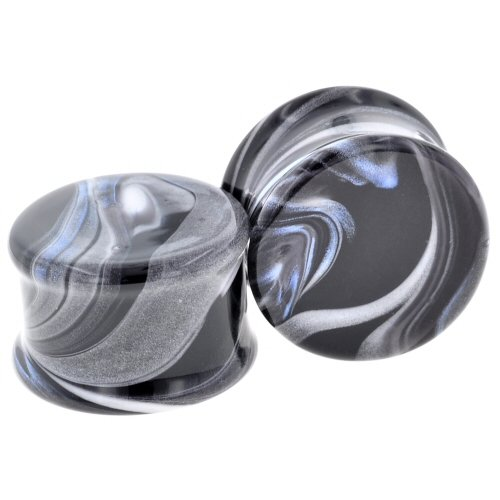 Pair of Glass Double Flared Borostone Plugs: 1-9/16