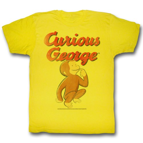 Curious George Shirt Curious Monkey Adult Yellow Tee T-Shirt