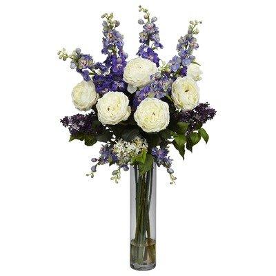 Artificial mixed floral arrangements purple rose for Flower arrangements with delphinium
