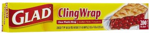 Glad Clingwrap Clear Plastic Wrap, 200 Sq Ft-3 Pk