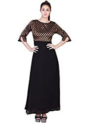 Missy Miss Women's Evening Gown With Black Georgette With Satin & Brocket Fabric & 3/4Th Sleeves Size:- L