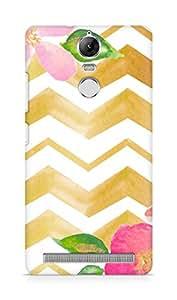 Amez designer printed 3d premium high quality back case cover forLenovo K5 Note (gold pastel floral)