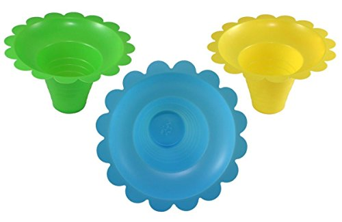 50 Cups of 8-12oz Assorted Color Flower Cup Snow Cones Ice Cream Bowl