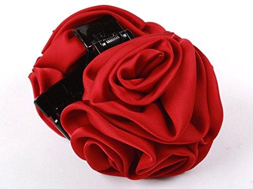 ヘアクリップ 薔薇 花 6輪 暗赤色