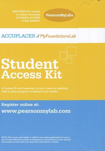 ACCUPLACER/MyFoundationsLab without Pearson eText -- Design -- Standalone Access Card (12-Month access)
